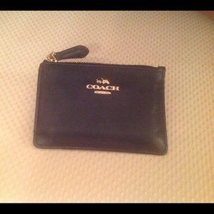 Coach black leather keys card cash holder